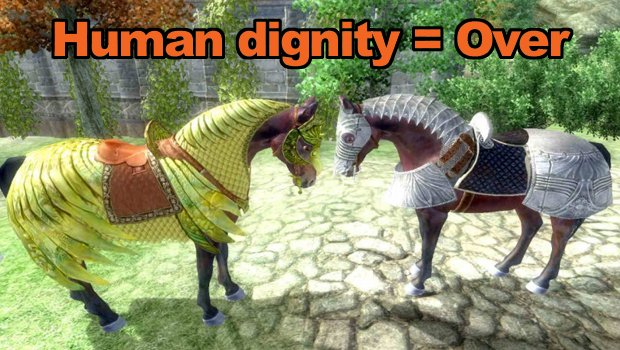 Horses from The Elder Scrolls IV: Oblivion wearing armour