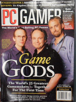 A cover of PC Gamer magazine featuring a photo shoot with John Carmack, Sid Meier and Richard Garriott smiling warmly at the camera