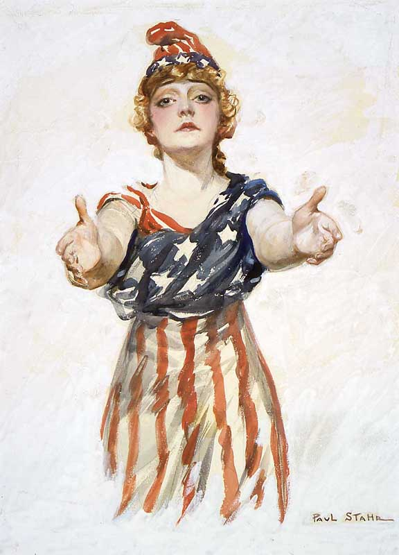 Painting of Columbia, garbed in an American flag, her arms outstretched